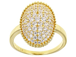 Pre-Owned White Cubic Zirconia 18K Yellow Gold Over Sterling Silver Ring 1.76ctw
