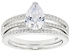 Pre-Owned White Cubic Zirconia Rhodium Over Sterling Silver Ring With Band 2.85ctw