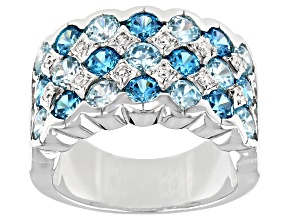 Pre-Owned Blue And White Cubic Zirconia Rhodium Over Sterling Silver Ring 6.64ctw