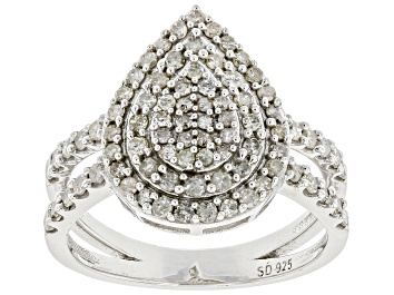 Picture of Pre-Owned White Diamond Rhodium Over Sterling Silver Cluster Ring 0.90ctw