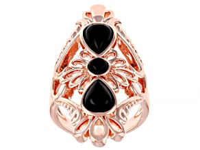 Pre-Owned  Black Onyx filigree style Copper ring 2.15ct