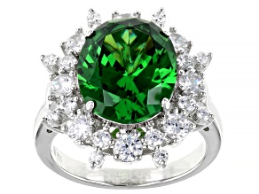 Pre-Owned Green And White Cubic Zirconia Rhodium Over Silver Ring 10.32ctw