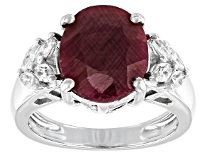 Pre-Owned Red Indian Ruby Rhodium Over Sterling Silver Ring  5.80 ctw