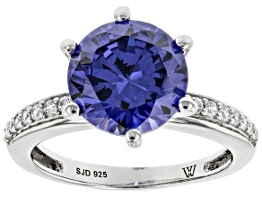 Pre-Owned Blue And White Cubic Zirconia Rhodium Over Sterling Silver Ring 6.30ctw