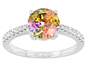 Pre-Owned Multicolor Cubic Zirconia Rhodium Over Sterling Silver Ring 2.65ctw