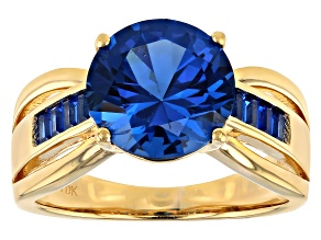 Pre-Owned Blue Lab Created Spinel 18k Yellow Gold Over Silver Ring 3.35ctw