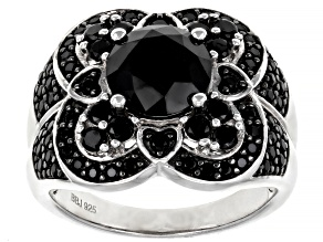 Pre-Owned Black Spinel Rhodium Over Sterling Silver Ring 3.38ctw