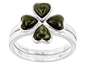 Pre-Owned Connemara Marble Sterling Silver 4 Leaf Clover Set of 2 Rings