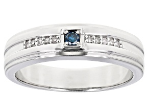 Pre-Owned Blue And White Diamond Rhodium Over Sterling Silver Mens Band Ring 0.15ctw