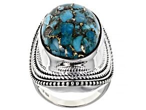 Pre-Owned Blue Turquoise Sterling Silver Ring 12.00ctw