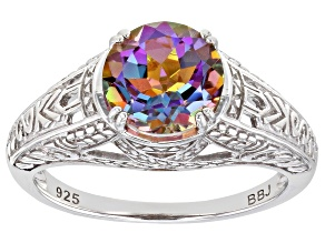 Pre-Owned Multi-Color Northern Lights™ Quartz Rhodium Over Sterling Silver Soliatire Ring 1.53ct