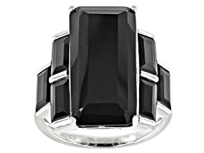 Pre-Owned Black Spinel Rhodium Over Sterling Silver Ring 14.48ctw