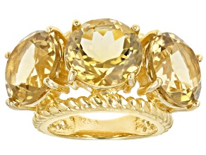 Pre-Owned Yellow Brazilian Citrine 18K Yellow Gold Over Sterling Silver 3-Stone Ring 18.00ctw