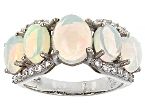 Pre-Owned Ethiopian Opal Rhodium Over Silver Ring 0.48ctw