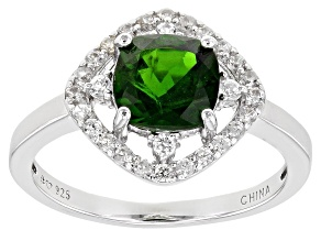 Pre-Owned Chrome Diopside Rhodium Over Sterling Silver Ring 1.58ctw