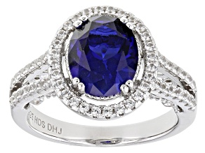 Pre-Owned Blue Lab Created Sapphire Rhodium Over Sterling Silver Ring 3.83ctw