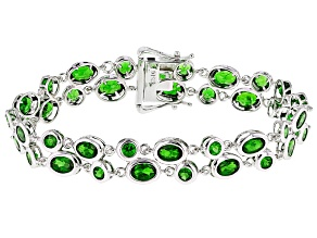 Pre-Owned Green Chrome Diopside Rhodium Over Sterling Silver Bracelet 12.07ctw
