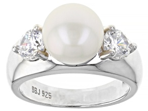 Pre-Owned White Cultured Freshwater Pearl & Cubic Zirconia Rhodium Over Sterling Silver Ring