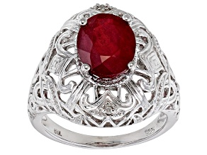 Pre-Owned Red Mahaleo® Ruby Rhodium Over Sterling Silver Ring 2.74ctw