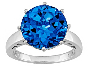 Pre-Owned Blue Lab Created Spinel Solitaire Rhodium Over Sterling Silver Ring 4.46ct