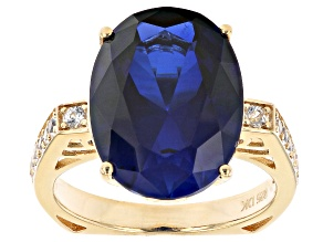 Pre-Owned Blue Lab Created Sapphire 18k Yellow Gold Over Sterling Silver Ring 9.04ctw