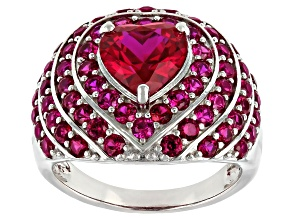 Pre-Owned Red Lab Created Ruby Rhodium Over Sterling Silver Ring. 4.54ctw