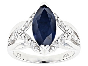Pre-Owned Blue Sapphire Rhodium Over Silver Ring 3.23ctw