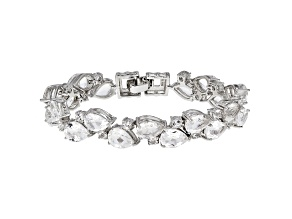 Pre-Owned White Crystal Quartz Rhodium Over Sterling Silver Bracelet 23.07ctw