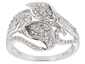 """Pre-Owned White Zircon Rhodium Over Sterling Silver """"Calla Lilly"""" Ring"""