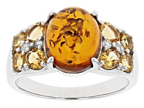 Pre-Owned Amber Rhodium Over Silver Ring 2.12ctw