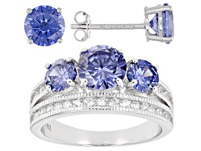 Pre-Owned Blue And White Cubic Zirconia Rhodium Over Sterling Silver Ring And Earrings 6.51ctw