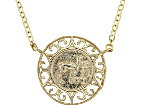 Pre-Owned 10k Yellow Gold Coin Design Necklace