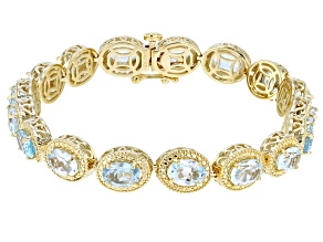Pre-Owned Sky Blue Topaz 18K Gold Over Sterling Silver Bracelet 12.01ctw