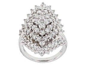 Pre-Owned White Cubic Zirconia Rhodium Over Sterling Silver Ring 7.64CTW
