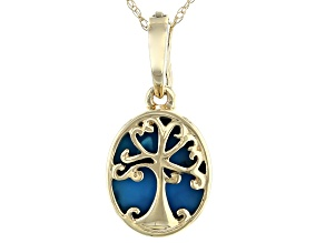 Pre-Owned Blue Sleeping Beauty Turquoise 10K Yellow Gold Tree Of Life Pendant With Chain