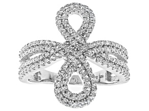 Pre-Owned White Cubic Zirconia Rhodium Over Sterling Silver Ring 1.42ctw