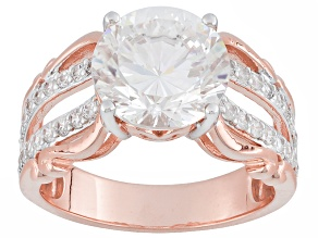 Pre-Owned White Cubic Zirconia 18k Rose Gold Over Silver Ring 6.83ctw