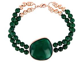 Pre-Owned Green Onyx Copper Bracelet