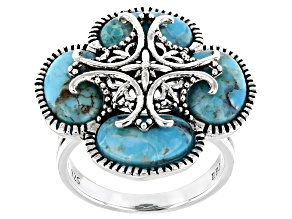 Pre-Owned Blue Turquoise Sterling Silver Ring 6.80ctw