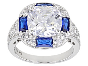 Pre-Owned Blue And White Cubic Zirconia Rhodium Over Sterling Silver Ring 10.93ctw.