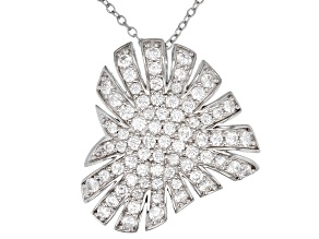 Pre-Owned White Cubic Zirconia Rhodium Over Sterling Silver Cluster Heart Pendant With Chain 2.79ctw