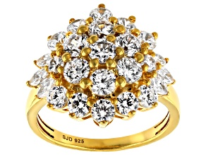 Pre-Owned White Cubic Zirconia 18k Yellow Gold Over Sterling Silver Ring 5.05ctw