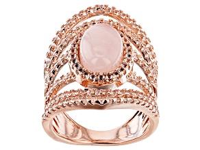 Pre-Owned Rose Quartz Copper Ring 1.15ctw