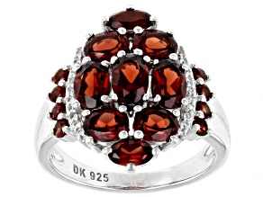 Pre-Owned Red Garnet Rhodium Over Sterling Silver Ring 4.28ctw