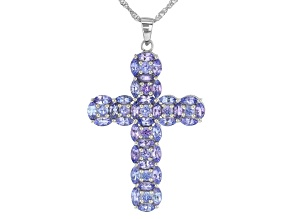 Pre-Owned Blue Tanzanite Rhodium Over Sterling Silver Cross Pendant With Chain 5.46ctw