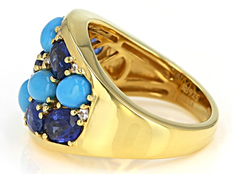 Pre-Owned Blue Turquoise 14k Yellow Gold Over Silver Cluster Ring