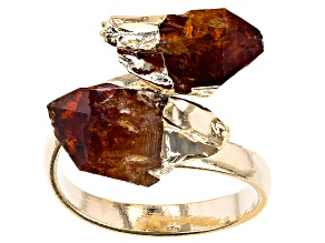 Pre-Owned Citrine 18k Yellow Gold Over Brass Bypass Ring