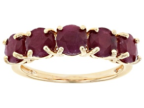 Pre-Owned Red Ruby 18k Yellow Gold Over Sterling Silver Band Ring 2.64ctw