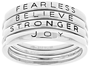 Pre-Owned Rhodium Over Sterling Silver Inspirational Stacking Rings