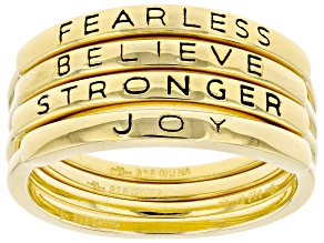 Pre-Owned 18K Yellow Gold Over Sterling Silver Inspirational Stacking Rings